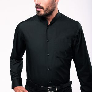 Chemise col mao manches longues homme