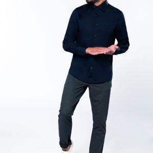 Chemise coton / élasthanne manches longues homme