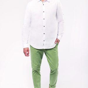 Chemise lin et coton manches longues - homme